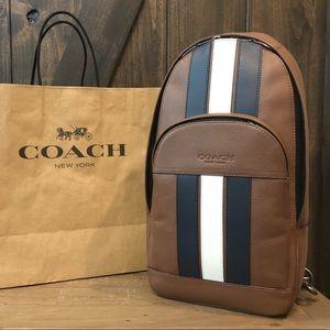 NWT Authentic Coach Houston Pack w/ Varsity Stripe